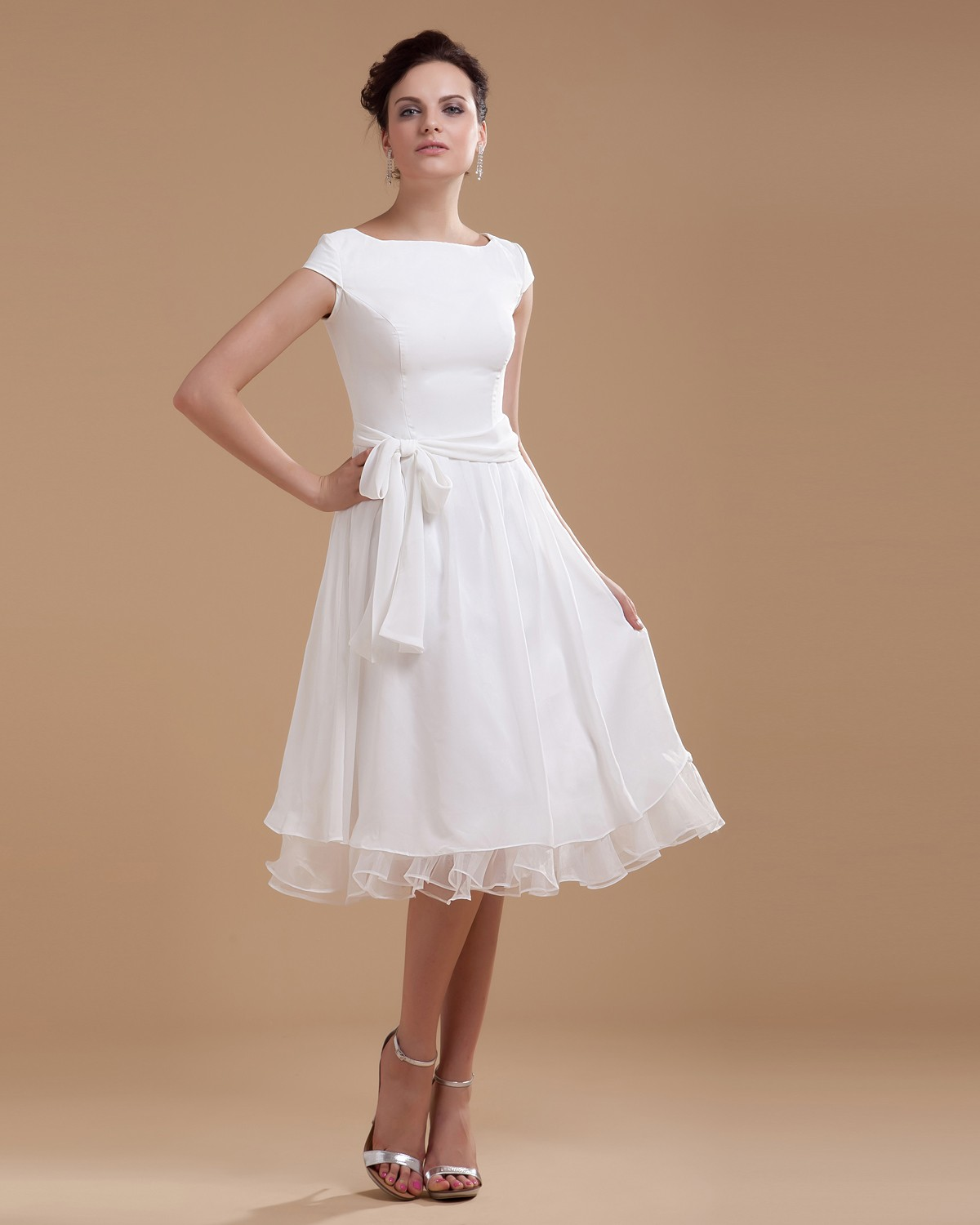 Cheap-Chiffon-Sash-Ruffle-Boat-Neck-Short-Bridal