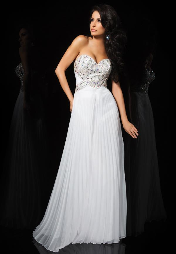 Pleated Skirt Chiffon White Cheap 2015 Prom Dress