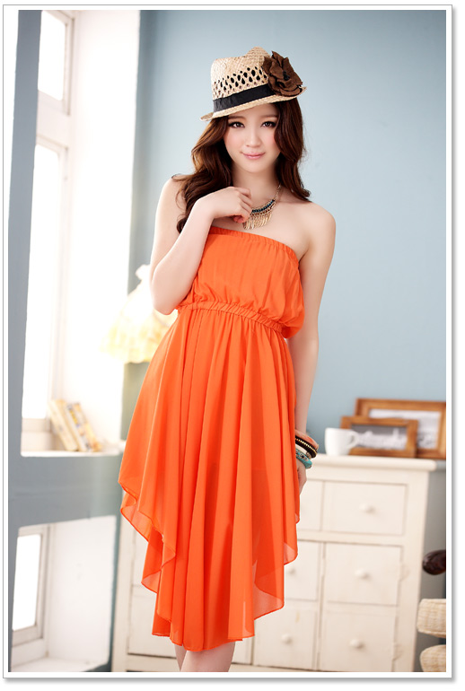 cool summer orange dress