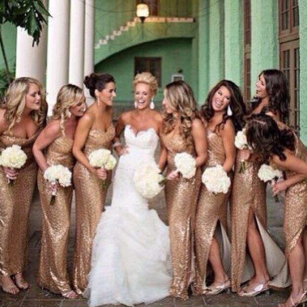gold bridesmaid dresses