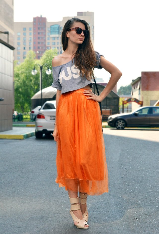 new orange street style dress