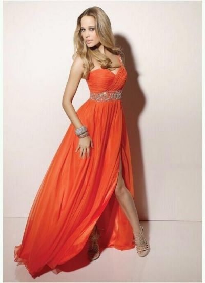 orange long maxi dress