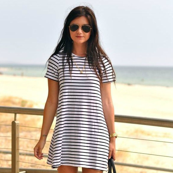 stripped t-shirt dresses