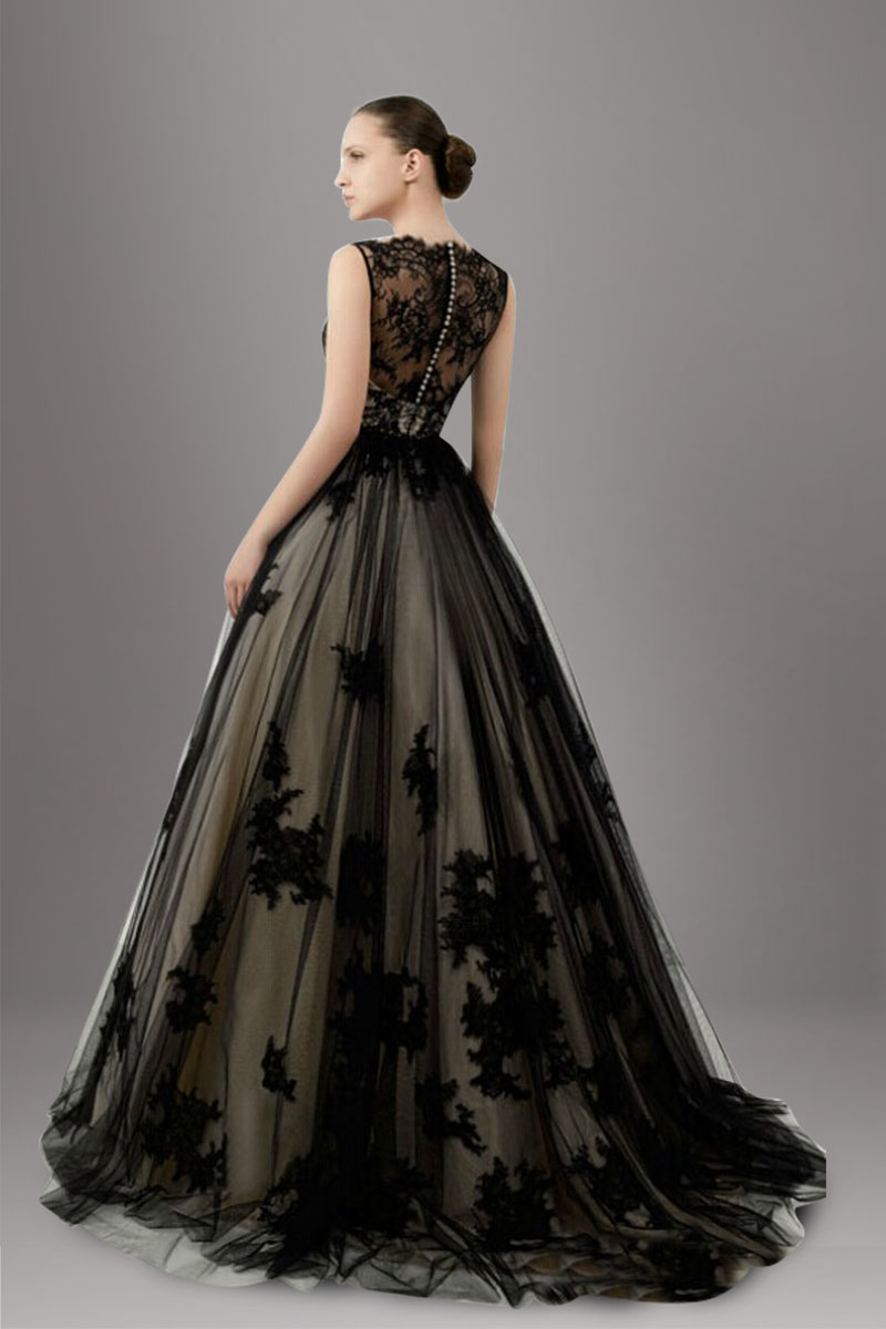 stunning-lace-overlay-tulle-a-line-black-wedding-dress