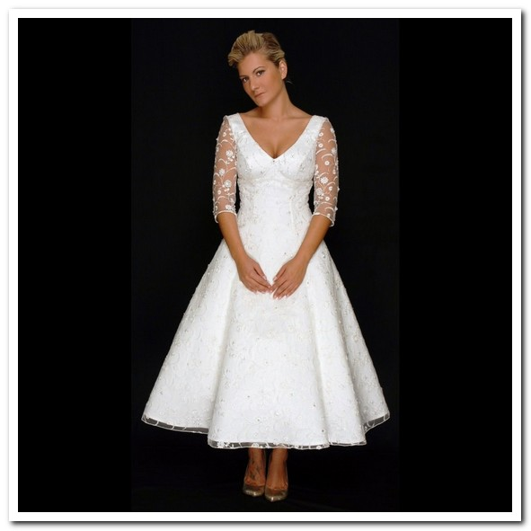 BEAUTIES WEARING PRETTY TEA LENGTH WEDDING DRESSES
