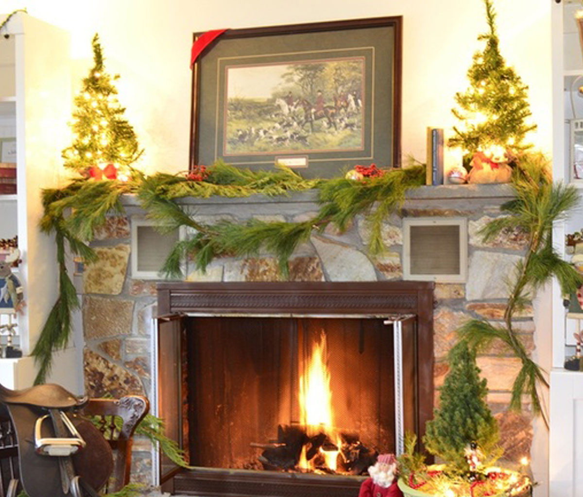 add fire to the fireplace area with mesmerizing decoration