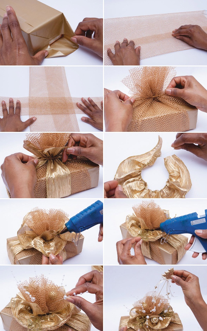 diy-christmas-gift-wrap-ideas-topper-bow-gold-ribbon-package