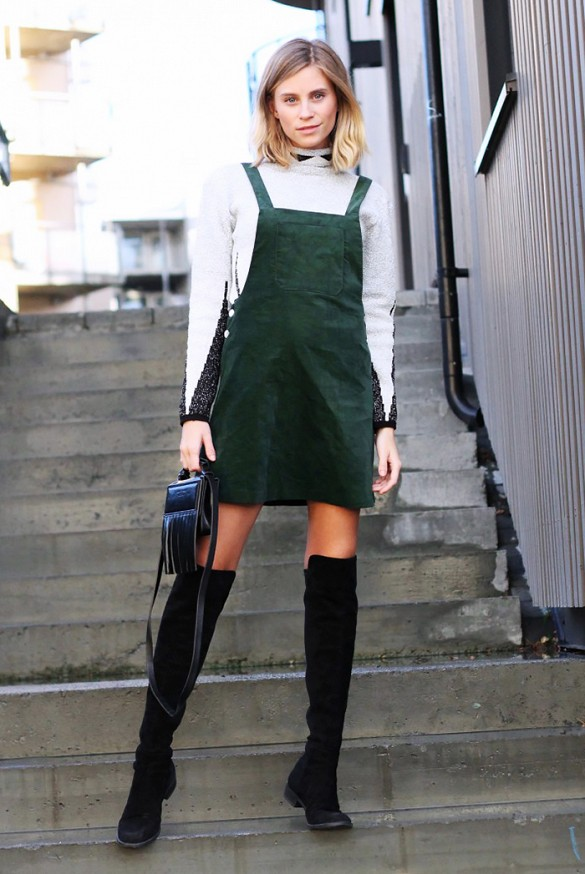 green jumper dress