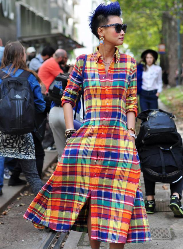 milan street style full skirts pleats dresses DECOR CHECK DRESS
