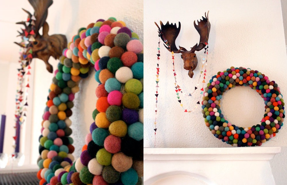 Modern-Colourful-DIY-Felt-Ball-Christmas-Wreath