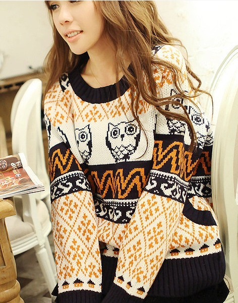 aztec oversized owl christmas sweater round neck animal print christmas jumper oversize owl tribal