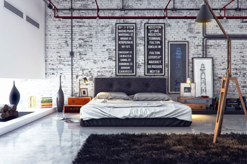 Impressing-Bedroom-Design-Men-decorating-with-modern-bed-also-grey-cushion-and-black-furry-rug-carpet-on-white-ceramic-flooring-and-typografi-wall-decoration