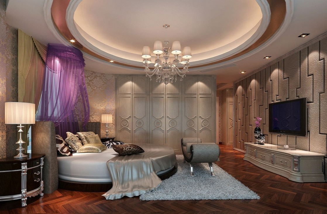 Round-ceiling-and-round-bed-in-upscale-bedroom