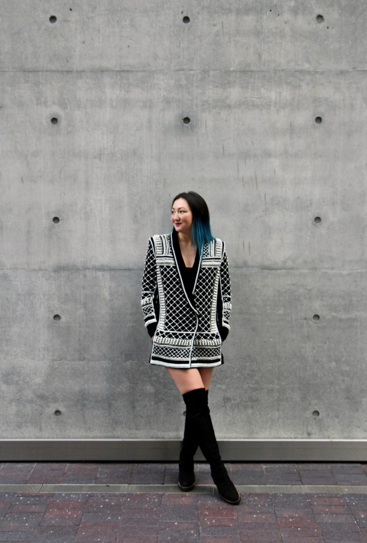 balmain-hm-beaded-jacket-blazer-dress-over-the-knee-la-canadienne-boots