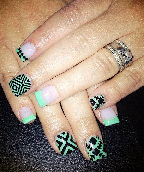 Mint-Green-Tribal-Nail-Design