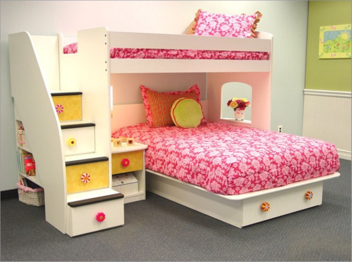 18 perfect teenage girls bedroom designs for Bunk bed bedroom designs