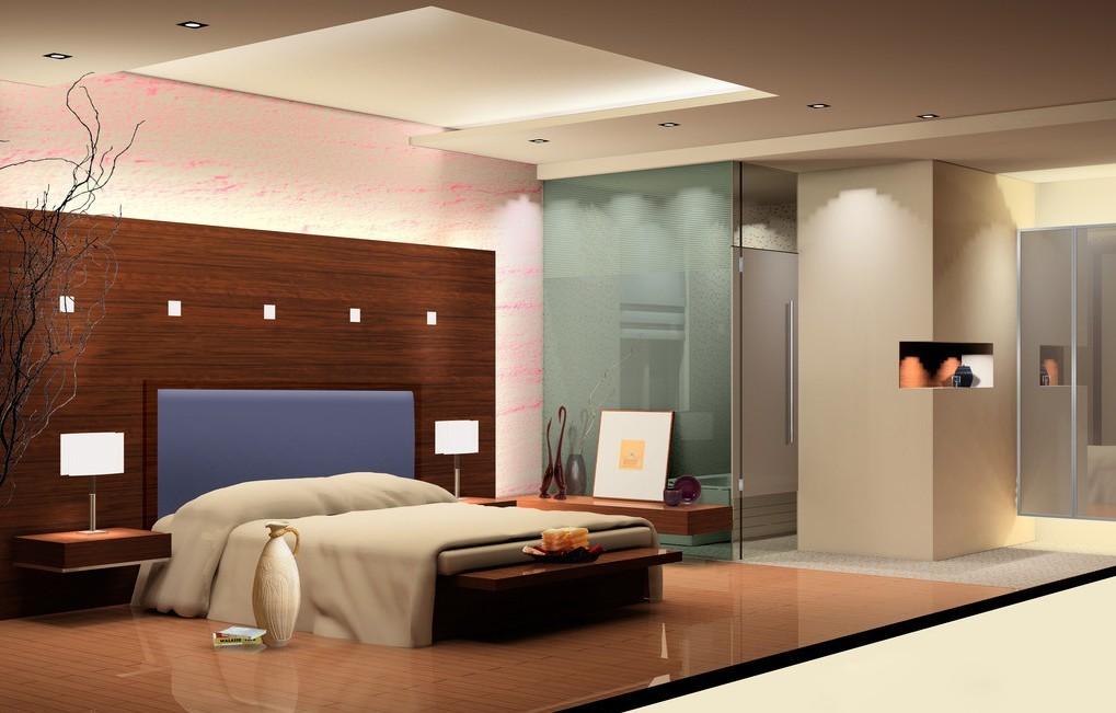 Bedroom-Design-Wood-floor-And-Wood-Wall-Wallpaper