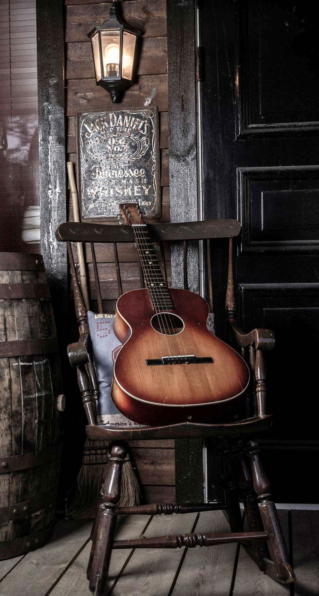 Old-Guitar-On-Chair-iPhone-6-Plus-HD-Wallpaper.