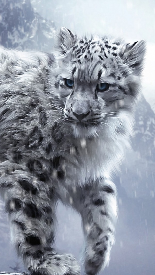 White-Snow-Leopard-Cub-iPhone-5-Wallpaper.