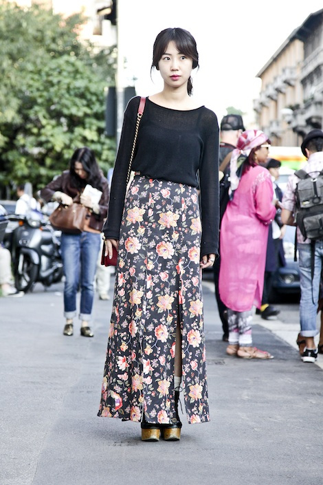 red-dress-Street-Style-Day-TWO-Milan-Womens-Ready-to-Wear-Spring-2013-long-floral-skirt