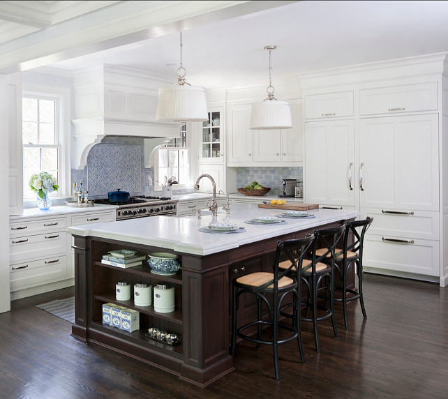 Top 28 21 spotless white traditional kitchen 21 for White and blue kitchen ideas