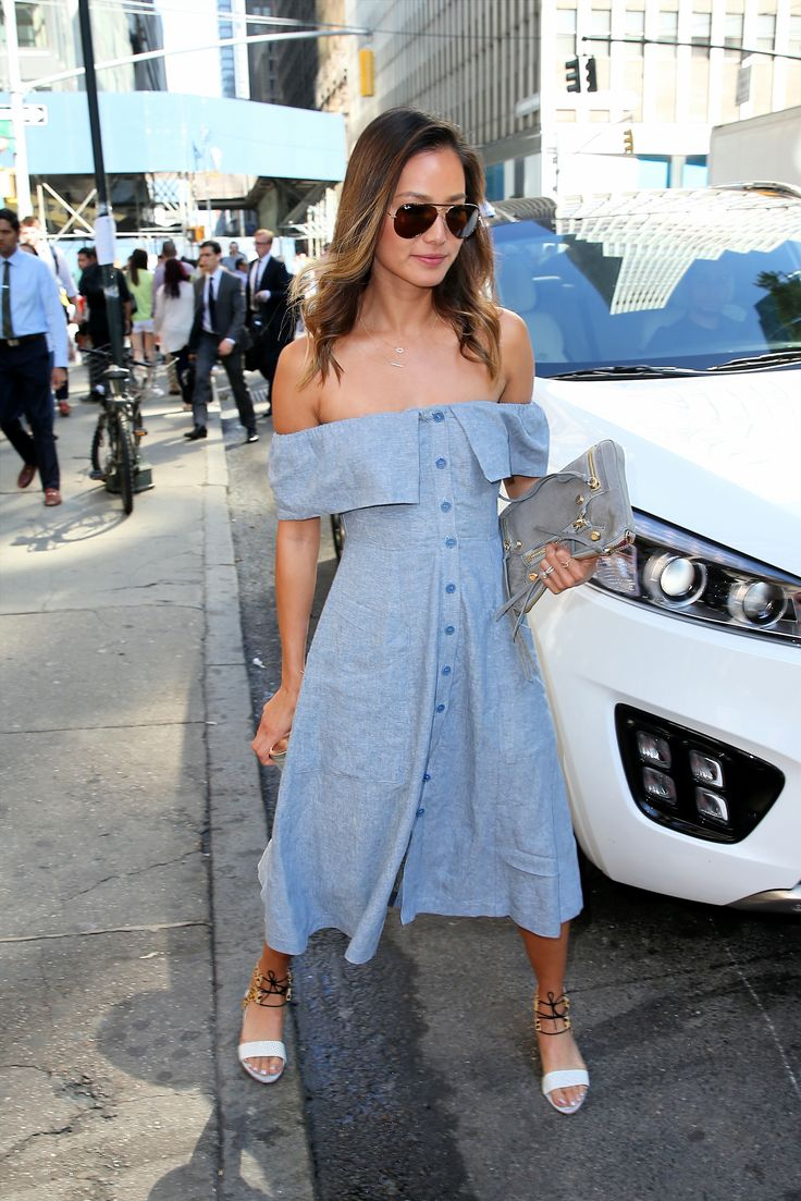 Actress Jamie Chung, wearing blue knit off the shoulder dress, visits Bryant Park in New York City on June 17, 2015. Pictured: Jamie Chung Ref: SPL1056555  170615   Picture by: Christopher Peterson/Splash News Splash News and Pictures Los Angeles:	310-821-2666 New York:	212-619-2666 London:	870-934-2666 photodesk@splashnews.com