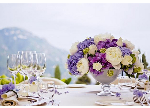 Summer-wedding-centerpiece-with-blue-and-purple-flowers