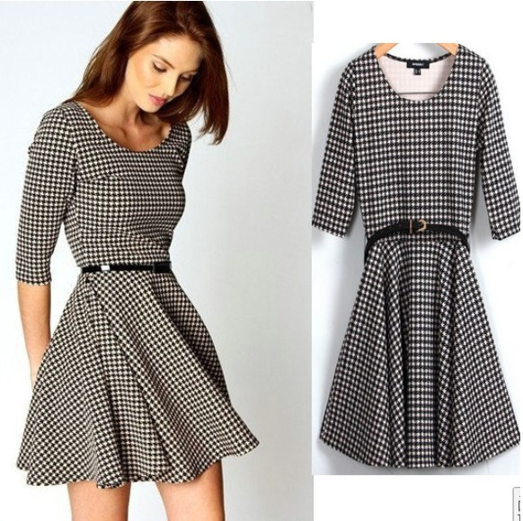 2013-New-Fashion-Women-s-Elegant-Classic-Plaid-Print-Dresses-Half-Sleeve-O-Neck-Vintage-Casual