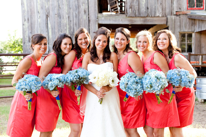 Southern-weddings-red-bridesmaid-dresses