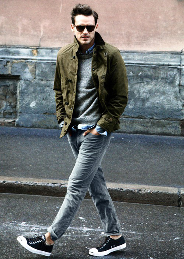 mens-style-how-to-wear-faded-denim-jeans-converse-purcells-grey-sweater-denim-shirt-army-green-jacket-sunglasses