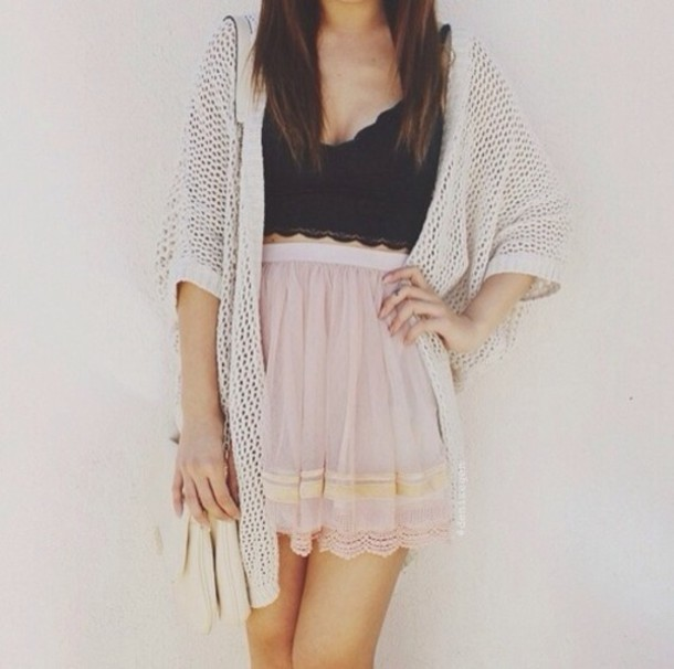 jxvygk-l-610x610-skirt-tank-sweater-pastel-tumblr-tumblr+clothes-summer-crop+tops-knit+sweater-pink-shirt-lacy+crop-black+crop-knitted+cardigan-long+knitted+cardigan-short+black-knee+length-strip