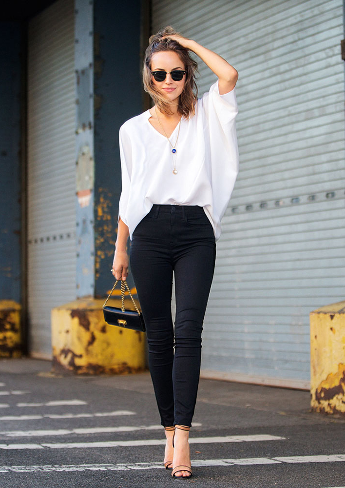 skinny jeans with a two tone heals