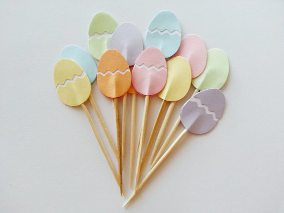 Pastel-Easter-Eggs-cupcake-toppers-Wedding-Food-Picks-Bridal-shower-Bachelorette-cocktail-tea-party-muffin-decorations.