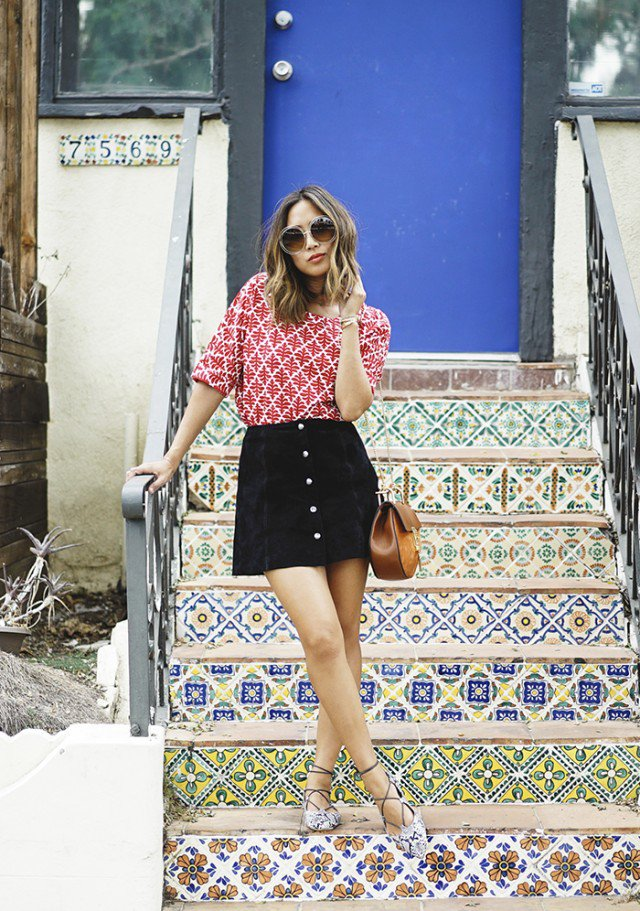 Print-Shirt-with-Suede-Button-Down-Skirt.