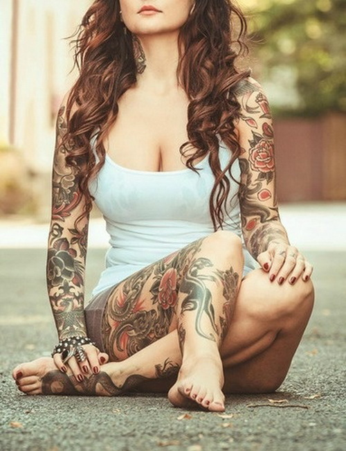 floral-sleeve-tattoo-for-women.